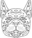 Mandala da cabeça do buldogue francês Fotografia de Stock