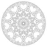 Mandala da flor com corações Página da coloração para ilustração do vetor