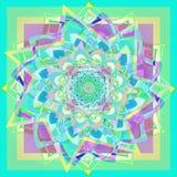 Mandala da flor da dália na água-marinha, fundo geométrico na imagem amarela, verde, roxa, clara para a prática da ioga, estilo d ilustração do vetor