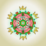 Mandala da tatuagem com gatos e corações das coroas Fotos de Stock Royalty Free