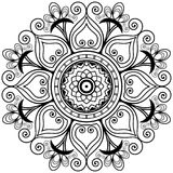 Mandala da tatuagem da hena no estilo do mehndi Tracery decorativo do livro para colorir Fotografia de Stock