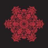 Mandala de broderie en rouge sur le fond noir Ligne courante vecto Image libre de droits