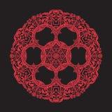 Mandala de broderie en rouge sur le fond noir Ligne courante vecto Photos stock