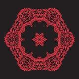 Mandala de broderie en rouge sur le fond noir Ligne courante vecto Photo stock