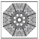 Mandala de chat de Zentangle - la page de livre de coloriage pour des adultes, détendent Image libre de droits