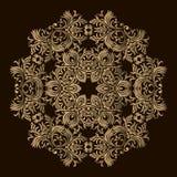 Mandala de coupe de laser configuration d'or florale Ornement oriental de silhouette Élément rond de conception Peut être employé illustration stock