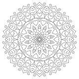 Mandala de fleur avec des coeurs Page de coloration pour Photographie stock