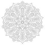 Mandala de fleur sur le fond blanc Page de livre de coloriage Photo stock
