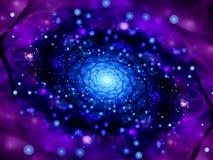 Mandala de incandescência mágica no fractal do espaço com partículas ilustração do vetor
