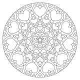 Mandala de la flor con los corazones Página que colorea para Foto de archivo