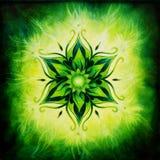 Mandala de la flor del ejemplo en una pintura al óleo verde del fondo Fotografía de archivo libre de regalías