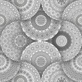 Mandala de la flor para el libro de colorear Modelo étnico blanco y negro de la alheña Elementos decorativos de la vendimia Islam Imagen de archivo