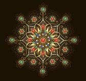 Mandala de la joyería en fondo marrón ilustración del vector