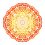 Mandala de la pendiente Ornamento étnico del círculo Elemento redondo indio tradicional exhausto de la mano Alheña espiritual de  ilustración del vector