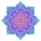 Mandala de la pendiente Ornamento étnico del círculo Elemento redondo indio tradicional exhausto de la mano Alheña espiritual de  fotos de archivo