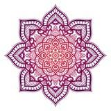 Mandala de la pendiente Ornamento étnico del círculo Elemento redondo indio tradicional exhausto de la mano Alheña espiritual de  imagenes de archivo