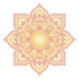 Mandala de la pendiente Ornamento étnico del círculo Elemento redondo indio tradicional exhausto de la mano Alheña espiritual de  fotos de archivo libres de regalías
