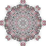 Mandala de la tarjeta del día de San Valentín, con los corazones Colores negros, blancos y rojos Ilustración del vector Imágenes de archivo libres de regalías