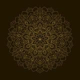 Mandala de oro Ornamento de la circular de la plantilla Imágenes de archivo libres de regalías