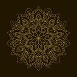 Mandala de oro Ornamento de la circular de la plantilla Foto de archivo libre de regalías
