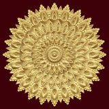 Mandala de oro, ornamento indio Diseño del este, étnico, modelo oriental, oro redondo Lujo, joya preciosa, greca, costosa Fotos de archivo libres de regalías