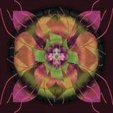 Mandala de trèfle et de pétales, fond noir simple, image centrale en or, orange, de corail, fuchsia, vert, vert clair illustration stock