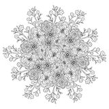 Mandala de vecteur avec le modèle de fleurs Page adulte de livre de coloriage Conception florale pour la décoration Photo libre de droits