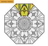 Mandala de Zentangle - la page de livre de coloriage pour des adultes, détendent et méditation, vecteur, gribouillant Photos stock