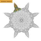 Mandala de Zentangle - la page de livre de coloriage pour des adultes, détendent et méditation, vecteur, gribouillant Image libre de droits
