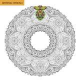 Mandala de Zentangle - la page de livre de coloriage pour des adultes, détendent et méditation, vecteur, gribouillant Photo libre de droits