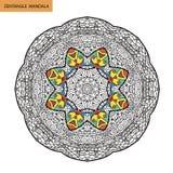 Mandala de Zentangle - la page de livre de coloriage pour des adultes, détendent et méditation, vecteur, gribouillant Photos libres de droits