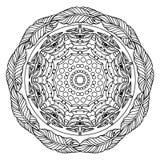 Mandala de Zentangle, página para el libro de colorante adulto, elemento del diseño del vector stock de ilustración