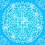 Mandala Decorated Card brillante bleue Images libres de droits