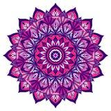 Mandala decorativa coloreada en el color rosado violeta ilustración del vector