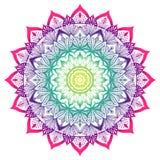 Mandala decorativa coloreada en los colores del arco iris ilustración del vector