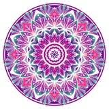 Mandala decorativa coloreada en los colores verdes y blancos violetas stock de ilustración