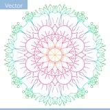 Mandala decorativa coloreada Líneas del dibujo Adornos de la flor stock de ilustración