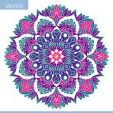 Mandala decorativa coloreada Modelo oriental stock de ilustración