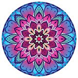 Mandala decorativa coloreada Modelo oriental ilustración del vector