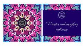 Mandala decorativa coloreada postal de la yoga del diseño libre illustration