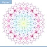Mandala decorativa linear Cores do inclinação do arco-íris ilustração do vetor