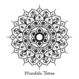 Mandala decorative ornament design. For coloring page, greeting card, invitation, tattoo, yoga and spa symbol. Vector illustration Royalty Free Stock Photography