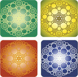 Mandala dei soldi Quattro immagini nelle opzioni differenti di colore Immagini Stock Libere da Diritti