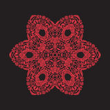 Mandala del bordado en rojo en fondo negro Línea común Imagen de archivo
