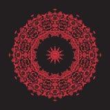 Mandala del bordado en rojo en fondo negro Línea común vecto Imagenes de archivo