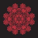 Mandala del bordado en rojo en fondo negro Línea común vecto Fotografía de archivo libre de regalías