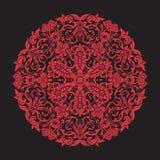 Mandala del bordado en rojo en fondo negro Línea común vecto Imagen de archivo libre de regalías