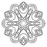 Mandala del contorno para el libro del color Ejemplo monocromático Symmetr Imagen de archivo libre de regalías