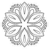 Mandala del contorno para el libro del color Ejemplo monocromático Un repea Foto de archivo