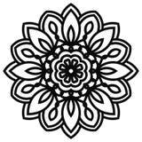 Mandala del cordón en estilo del zentangle Vista superior de la flor negra de la fantasía Imagen de archivo libre de regalías